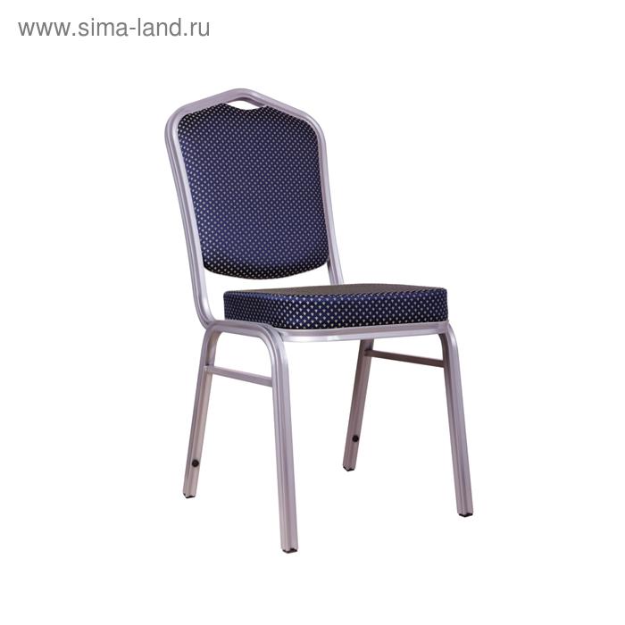 Банкетный стул 20 мм, каркас серебро, обивка корона синяя