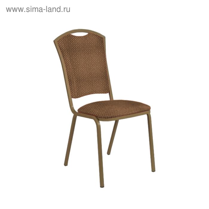 """Банкетный стул """"Патрик Лайт"""" 20 мм, каркас бронза, обивка ромб коричневый"""