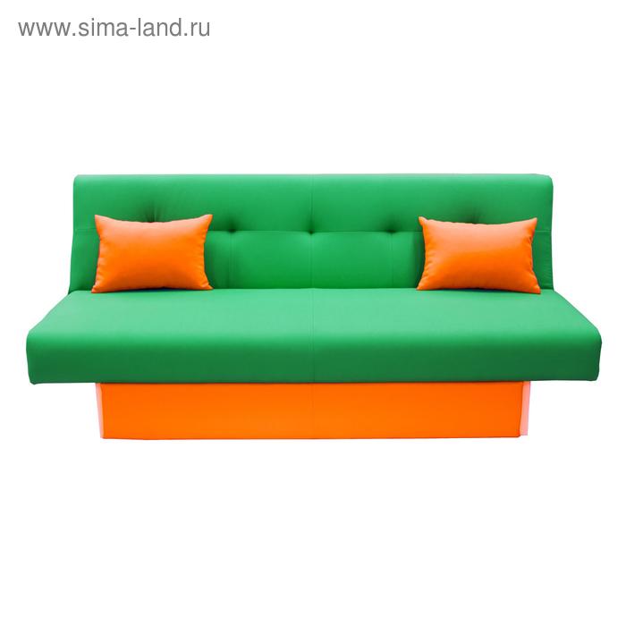 Диван Манго 4 Зеленый, панель/подушки Оранж