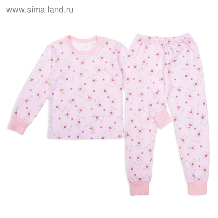 Пижама для девочки Мишки Sweet Baby, рост 134 см, цвет розовый