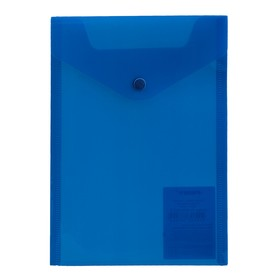 Папка-конверт А5 Proff, на кнопке, 0.18 мм, прозрачная синяя Ош