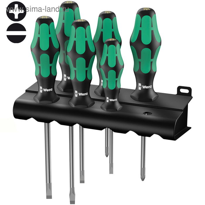 Набор отверток WERA Kraftform Plus Lasertip 334/6 Rack, SL, PH, 6 шт.