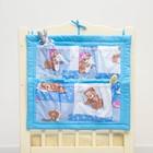 Органайзер на детскую кроватку горошек на голубом + мишки на голубом, синтепон, бязь 140г/м   286975