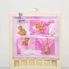 Органайзер на детскую кроватку горошек на розовом + мишки на розовом, синтепон, бязь 140г/м   286975