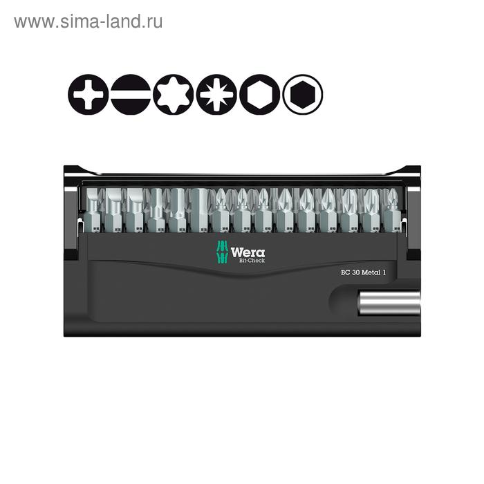 Набор бит WERA WE-057434, Bit-Check 30 Metal 1, битодержатель, 29 бит с закалкой