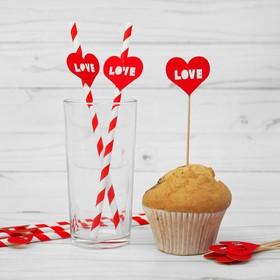 Набор для праздника LOVE, 5 трубочек, 5 шпажек, цвет красный Ош