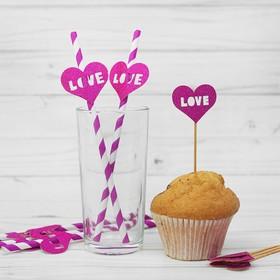 Набор для праздника LOVE, 5 трубочек, 5 шпажек, цвет фиолетовый Ош