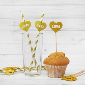 Набор для праздника LOVE, 5 трубочек, 5 шпажек, цвет золотой Ош