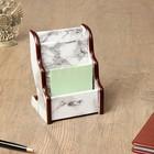 Органайзер настольный, 3 секции, цвет под белый мрамор, 15*19*11 см