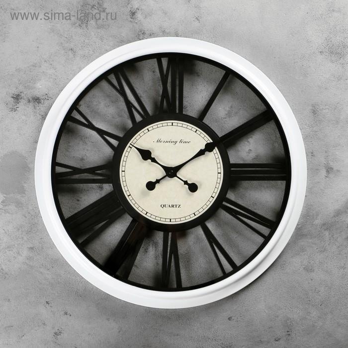 Часы настенные, круглые, чёрные римские цифры по кайме, рама полупрозрачная, белые, d=51 см