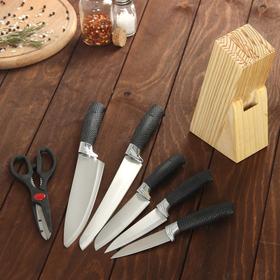 Набор кухонный, 6 предметов: 5 ножей 8,5/12/12/19,7/19 см, ножницы, цвет черный Ош