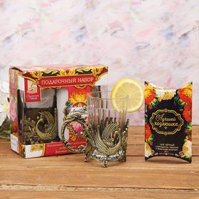 Набор: подстаканник со стаканом, чай чёрный 'Любимой свекрови' Ош