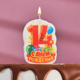 Свеча для торта цифра 'С Днём Рождения' красная '14' Ош