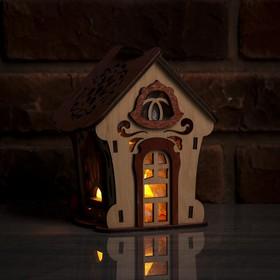 Соляной светильник 'Домик из дерева с кристаллами', деревянный декор, 13 х 11 х 15 см Ош