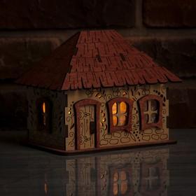 Соляной светильник 'Домик из дерева с кристаллами', деревянный декор, 12 х 18 х 14 см Ош