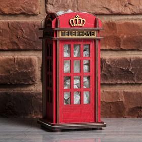 Соляной светильник из дерева 'Телефонная будка Лондон', 11 х 11 х 22 см Ош