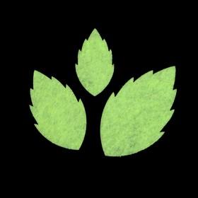 Набор декоративных элементов из фетра на клеевой основе (3 шт) 'Листья розы' бледно-салатов. Ош