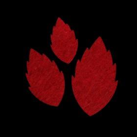Набор декоративных элементов из фетра на клеевой основе (3 шт) 'Листья розы' бордовый Ош