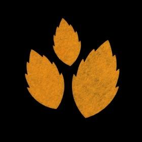 Набор декоративных элементов из фетра на клеевой основе (3 шт) 'Листья розы' желтый Ош