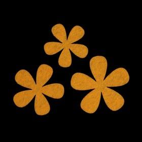 Набор декоративных элементов из фетра на клеевой основе (3 шт) 'Цветы №2' желтый Ош