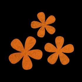 Набор декоративных элементов из фетра на клеевой основе (3 шт) 'Цветы №2' оранжевый Ош