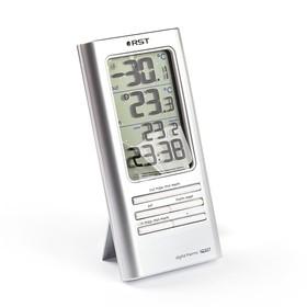 Термометр RST 02307, цифровой, дом/улица, часы, серебристый Ош