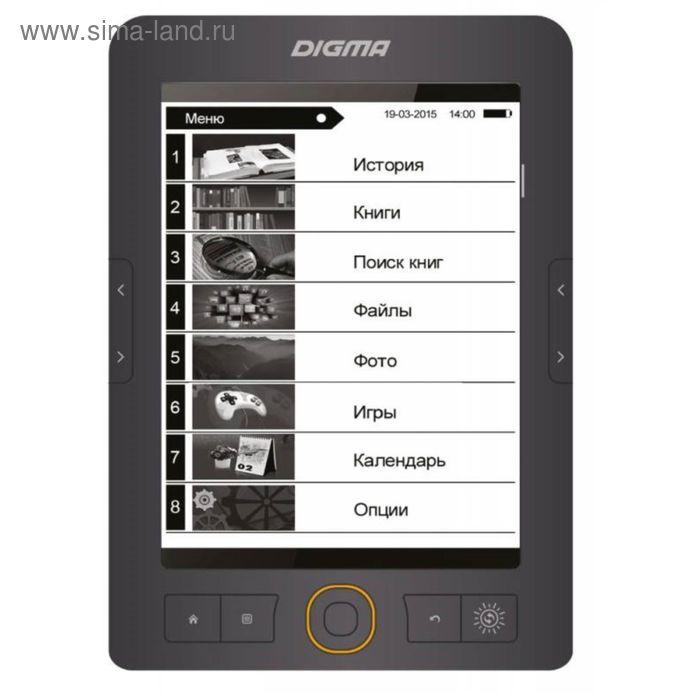 "Электронная книга Digma S683G, 6"", 1024x758, Touch Screen, 4 Гб, microSDHC, серая 2600398"