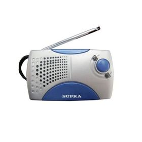 Радиоприемник Supra ST-113,  портативный, серебристый/синий Ош