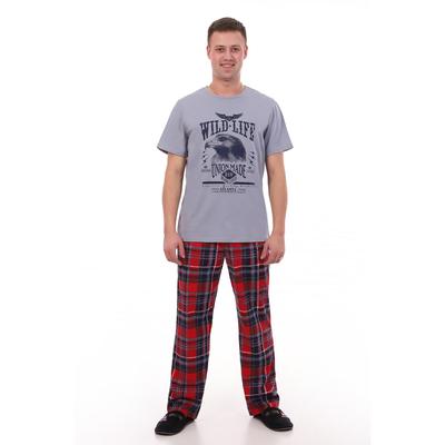 Комплект мужской (футболка, брюки) цвет индиго, красная клетка, р-р 50