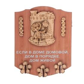 Ключница открытая фанера 'Если в доме домовой' 13х16 см Ош