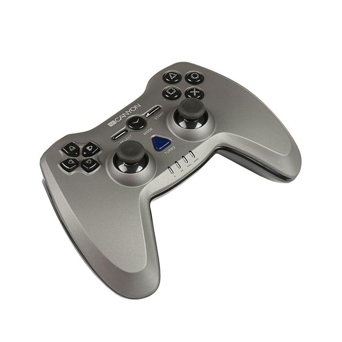 Геймпад проводной Canyon CNS-GPW6, PS3, PS2,PC, кнопка скоростной стрельбы Turbo Fire, серый   35384