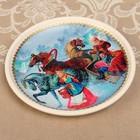 Тарелка декоративная «Деревенская тройка», с рисунком на холсте, настенная, D = 16 см
