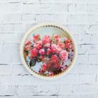 Тарелка декоративная «Пионы», с рисунком на холсте, настенная, D = 11,5 см