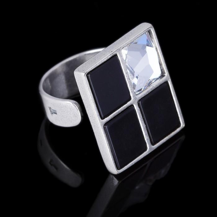 """Кольцо """"Регул"""", цвет бело-чёрный в чернёном серебре"""