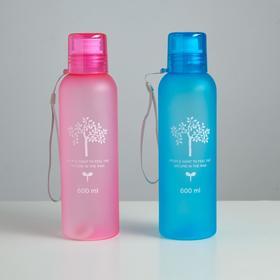 Бутылка для воды 500 мл «Дерево жизни», спортивная, на шнурке, матовая, микс, 6.5х20.5 см Ош
