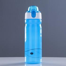 Бутылка для воды 600 мл, спортивная, крышка за защёлке, на шнурке, поильник, микс, 7.5х23 см Ош