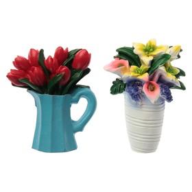 Магнит полистоун 'Цветы в вазе' МИКС 7х5,3 см Ош