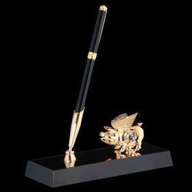 Ручка на подставке «Свинка», 16х6х20 см, с кристаллами Сваровски Ош