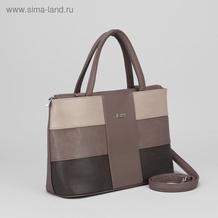 Сумка жен 471, 36*14*24,5, 2отд на молнии, н/карман, коричневый/серый