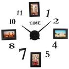 Часы-наклейка DIY с фоторамками, d=120 см, стрелки 39 см, фото 13х8.5 см, чёрные