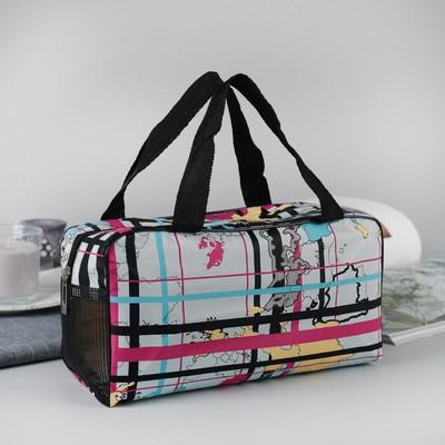 Косметичка-сумочка Карта, 25,5*10*13, отд на молнии, ручки, голубой