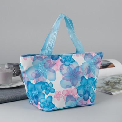 Косметичка-сумочка Флора, 28*14*16, отд на молнии, ручки, голубой