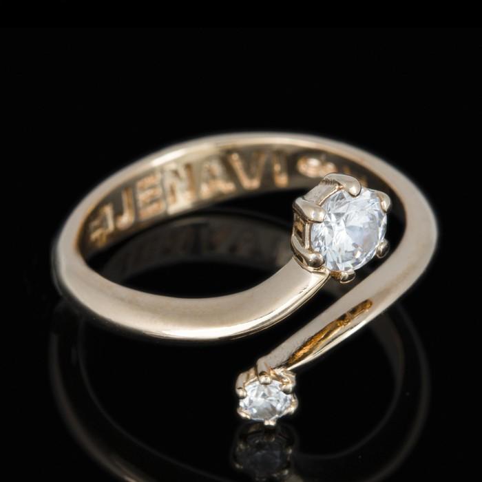 """Кольцо """"Раус"""", размер 17, цвет белый в золоте"""