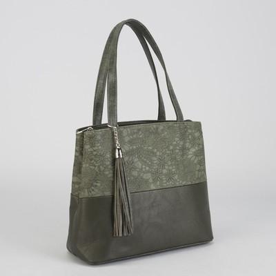Сумка жен 1025, 32*13*22, отдел с перег на молнии, н/карман, дл ремень, зеленые кружева