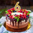 """Свеча для торта """"Блёстки"""" цифра 6, золотистая"""
