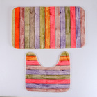 """Набор ковриков для ванной и туалета """"Цветные деревяшки"""" 2 шт, 44.5х73.5, 45х38 см"""