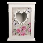 """Ключница дерево 6 крючков """"Розы. Бабочки. Сердце"""" 29,5х22х6 см"""