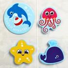 Набор игрушек для ванны «Уточка и друзья»: наклейки из EVA, 3 шт. + мини-коврик на присосках