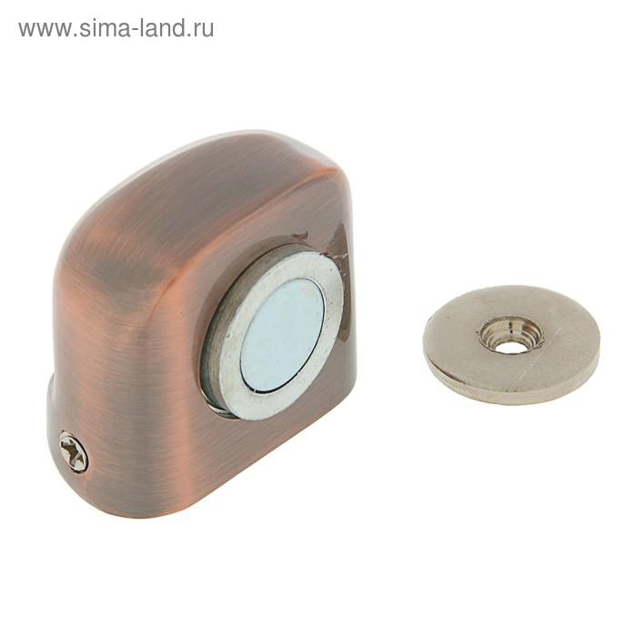 Ограничитель дверной магнитный 802, напольный, цвет античная медь