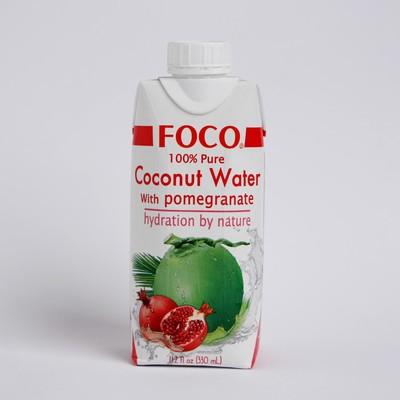 """Кокосовая вода с соком граната """"FOCO"""" 330 мл Tetra Pak 100% натуральный напиток, БЕЗ САХАРА   356592"""